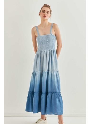 Vitrin Askılı Gipeli Batik Elbise İndigo